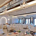 リヴァージュブラン(RIVAGE BLANC):純白の空間&オーシャンビューが開放感を醸しだすパーティ会場。オリジナルデザインのケーキにも大満足