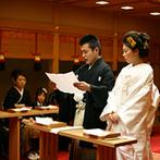 迎賓館シェーナ~PARTIR KYOTO~:憧れの伝統衣裳&モダンな日本髪で叶えた神前式。厳かながらも子どもゲストも笑顔で参列した和やかな挙式に