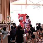迎賓館シェーナ~PARTIR KYOTO~:幸せを呼ぶピンクの『セレマクマ』と一緒にガーデンから再入場!同会場ならではの盛り上がる演出に感謝