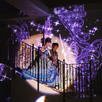 ベルクラシック姫路:階段入場はムービングライトで華やかに演出。アフターパーティをロビーで行い、ゲストハウスをフル活用