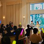 アイネス ヴィラノッツェ 大阪:ビール&おつまみサーブ、各卓撮影、歓談も満喫!暖かくしたガーデンで種類豊富なデザートを振る舞った