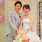 アニヴェルセル 大阪:優しさと気品に満ちあふれた、オフホワイトの空間。【青&白】のコーディネートや、ケーキもイメージ通り!