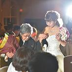 アニヴェルセル 大阪:祖母への中座のサプライズで会場は温かなムードとなった。ゲスト一人ひとりとのふれ合いを大切にしたひと時