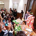 アニヴェルセル 神戸:野花やあじさいを取り入れたグリーンが基調の装花。ウェルカムグッズやケーキも、ナチュラルな雰囲気で統一
