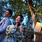 SWEET ROSES CLUB OKAZAKI(スウィート ローゼス クラブ岡崎):明るい秋の陽射しが夕暮れに変わる瞬間を活かしたガーデン演出。感謝を込めた料理やデザートも素敵な記憶に