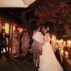THE GARDEN PLACE SOSHUEN(蘇州園):キャンドルの美しい灯りに彩られたテラスでのデザートビュッフェ。ロマンチックな雰囲気に誰もが酔いしれた