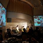 ホテル北野クラブ HOTEL KITANO CLUB:各シーンを映す2面の大スクリーン、充実の音響照明が感動を彩る。恋する夫婦のダンスはサプライズ尽くし!