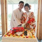 ラヴィマーナ神戸(RAVIMANA KOBE):可愛らしいオリジナルケーキがゲストの注目を集めた。大切な家族も活躍するアットホームなパーティに