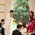 アーセンティア迎賓館 大阪:ふたりのセンスが光る邸宅で美食のおもてなし。ガーデンでのデザートビュッフェはふたりからのプレゼント
