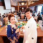 神戸メリケンパークオリエンタルホテル:ウエルカムグッズやコーディネート、乾杯ドリンクも爽やかな海のよう。鮮やかな色打掛もテーマにぴったり