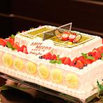 京都ガーデンパレス:盛り付けにも工夫を凝らした美食の数々でおもてなし。ケーキは、テニスコートをモチーフにしたオリジナル