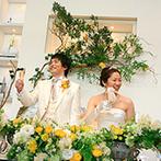 ガーデンヒルズ迎賓館 松本:リゾートムードが漂う邸宅をナチュラルにコーディネート。ふたりとシェフが考えたオリジナル料理が喜ばれた