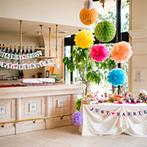 ヴィラ・グランディス ウエディングリゾート:結婚式のテーマは「イースター」。お菓子や手作りエッグ、まんまる装花のカラフルなコーディネートが楽しい