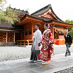 ベルヴィ ペアステージ ノイ:美しい富士山に見守られた厳粛な神前式。艶やかな色打掛姿の新婦に、観光客からも祝福の声が掛けられた