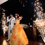 アルモニーヴィラ オージャルダン(HARMONIE VILLA EAU JARDIN):「夏の夜空」をイメージしてBGMやプラネタリウム、花火などムード満点!友人ゲストのダンスで楽しいひと時