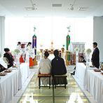 ベストウェスタンレンブラントホテル鹿児島リゾート:妙見神社の分霊を祀り、由緒正しい本格神前式。桜島を眺めながらの誓いは、全員の心に深く刻まれた