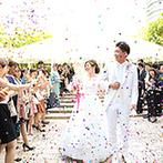 ホテルモントレ ラ・スール大阪:世界の庭園の水景様式を映す、ロマンティックなガーデンチャペル。祝福のコンフェッティシャワーも圧巻!