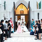 ホテルモントレ ラ・スール大阪:白&ブラウンを基調とした、温かみのあるチャペルで教会式。愛らしい子どもたちの活躍もなごませてくれた