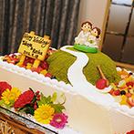 izumoden 豊橋:クリスタルビーズのシャンデリアが高級感を演出。趣味の登山をモチーフにしたオリジナルケーキに歓声が!