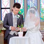 ザ・グランドティアラ Senju(エルカミーノリアル大聖堂):ふたりらしさにこだわった涙と笑顔の人前式。家族の絆をさらに深めるオリジナルの「水合わせの儀」に感動!