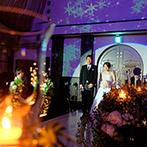 マリアージュ彦根:純白のドレスに身を包んだ花嫁を輝かせるチャペル。映像演出で入場シーンがさらに特別感あふれる瞬間に