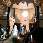 マリアージュ彦根:大理石のバージンロードを父と歩んだ時間も特別な思い出に。高さ9mもの天井に美しいハーモニーが響き渡った
