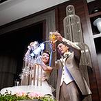 ホテル鐘山苑:お色直しは2回楽しみ、様々な衣裳と演出をフル活用!地元名物を美味しく味わってもらうおもてなし料理も