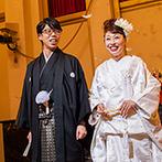 PARTE The Style Of Wedding(パルテ ザ スタイル オブ ウエディング):正統派の神殿での神前式で誓いを立て、ステンドグラスが彩る教会で祝賀式。ゲストの印象に残るセレモニーに