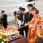 PARTE The Style Of Wedding(パルテ ザ スタイル オブ ウエディング):衣裳やウエディングケーキ、コーディネートなど和がテーマ。入場シーンも映像やシルエット演出で華やか!