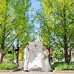 ララシャンス 太陽の丘:800mものメタセコイヤの並木道が導く迎賓館。森のように心癒される空間で『はじまり』と『永遠』の結婚式