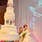 ホテルグランヴィア京都:シャンデリアが煌く会場で笑顔溢れるパーティ。インパクト大のケーキやお手本&ファーストバイトも注目の的