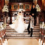 ノートルダム下関 Notre Dame SHIMONOSEKI:アンティークな調度品が彩られた大聖堂で誓った永遠の愛。開放的なスペースでアフターセレモニーも満喫!