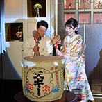 アートホテル上越:番傘と色打掛で入場し、日本酒で乾杯。自慢の料理でゲストをもてなし、終始和やかな雰囲気の披露宴に
