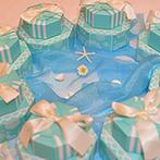 アートホテル上越:各卓フォトでふれあいを満喫!挙式したグアムの海を思わせるふたりらしい水色コーディネート