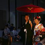 ホテルコンコルド浜松:大好きな赤をテーマカラーに、あでやかな色打掛で再登場。鏡開きや名入り箸で、和モダンと個性を融合させて