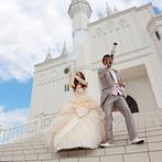 ローズガーデン/ロイヤルグレース大聖堂:お城のような純白の大聖堂で、憧れの結婚式を叶えたい!真っ白なパーティ会場もイメージ通りで迷わず決めた