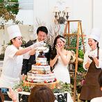 キャナルサイド ララシャンス:パティシエが目の前で仕上げるケーキ演出にワクワク!オープンキッチンで作られるオリジナル料理も大好評