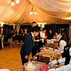 アーセンティア迎賓館 柏:広大なガーデンならではの演出で、ゲストの記憶に残る一日に。ナイトタイムのデザートビュッフェは幻想的