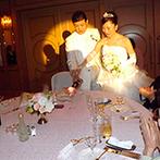 京王プラザホテル八王子:今までの「ありがとう」の気持ちを灯に込めて、各卓にキャンドルサービス。拍手喝采に胸が熱くなった