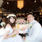 ホテルニューオータニ幕張:挙式に続いてガーデンの雰囲気を楽しめるパーティ会場。ゆったりと流れる時間と、美味しい料理でおもてなし