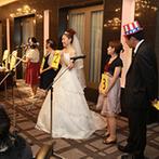 川越氷川神社・氷川会館:大いに盛り上がった友人の余興に改めて友情を感じたふたり。ゲストの笑顔を引き出す演出にこだわった