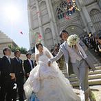 アンジェリカ・ノートルダム ANGELICA Notre Dame:憧れの大聖堂で魅せるのは、サイトで一目惚れしたドレス。大階段を降りる際はブルーのパニエがアクセントに