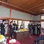 神戸迎賓館 旧西尾邸(兵庫県指定重要有形文化財):幻想的なキャンドルリレーや、アカペラの合唱など、ゲスト参加型の演出の数々で思い出が胸に刻まれた