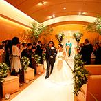 横浜ベイホテル東急:ゲストと距離が近いナチュラル感たっぷりのチャペル。牧師先生の優しい語りかけで笑顔で幸せな瞬間を迎えた
