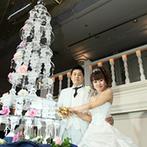 成田ビューホテル:150名のゲストと楽しむ盛大な披露宴!高い天井に映えるクリスタルケーキやウエルカムスピーチで幸せを実感