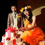 ホテルモントレ京都:ムービングプロジェクターの幻想的な光でパーティシーンを鮮やかに彩る。ケーキバイトはゲストの注目の的!