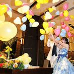 The ORANGER GARDEN ISUZUGAWA (ザ・オランジェガーデン五十鈴川):ゲスト参加型の演出で大盛り上がり!12個の大きな風船と一緒にみんなの笑顔もはじけた賑やかなパーティ