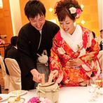 名古屋東急ホテル:お色直しの和装に合わせ、「和のテイスト」をプラスした演出。おもてなしにも、名古屋らしさを取り入れて