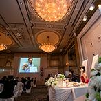 名古屋東急ホテル:大きなスクリーンで手作りムービーを上映。両親へ感謝の気持ちを伝えるクライマックスシーンにも華を添えた