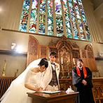 マリエール山手(セント・リージェンツ大聖堂):英国ウエストミンスター大聖堂がモチーフの挙式空間で永遠の誓い。清らかな生演奏や、天使の羽根の祝福も